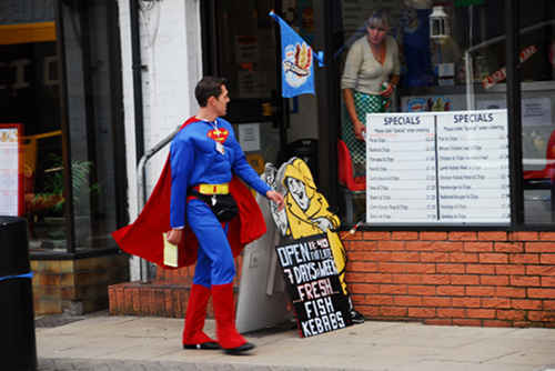superman walking down the street